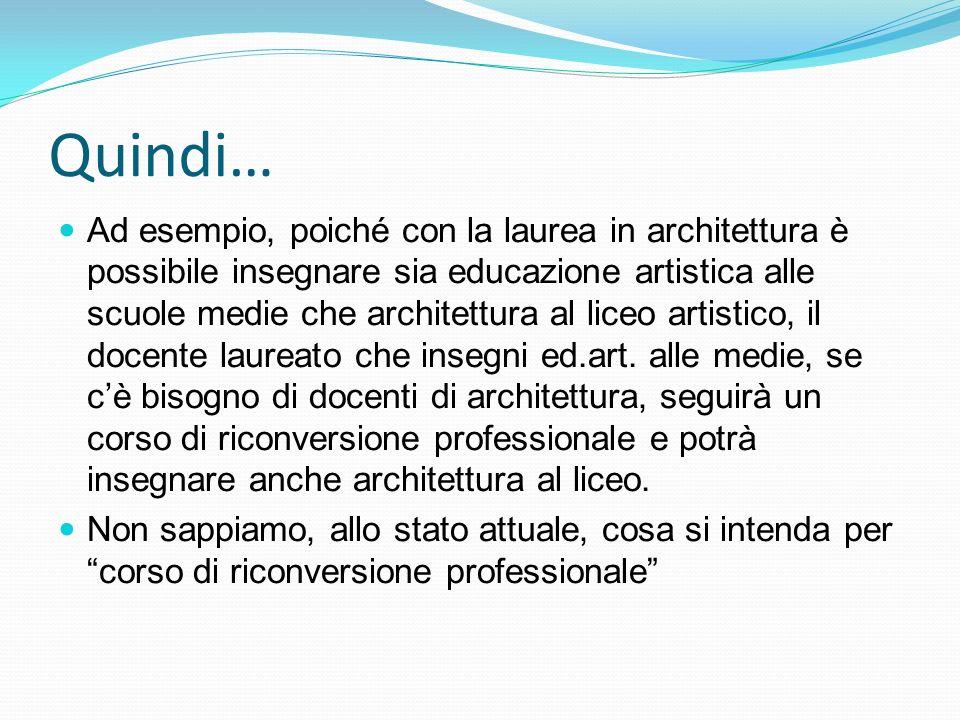 Quindi… Ad esempio, poiché con la laurea in architettura è possibile insegnare sia educazione artistica alle scuole medie che architettura al liceo artistico, il docente laureato che insegni ed.art.