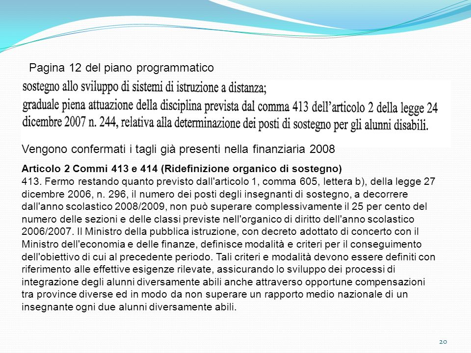 20 Pagina 12 del piano programmatico Vengono confermati i tagli già presenti nella finanziaria 2008 Articolo 2 Commi 413 e 414 (Ridefinizione organico di sostegno) 413.