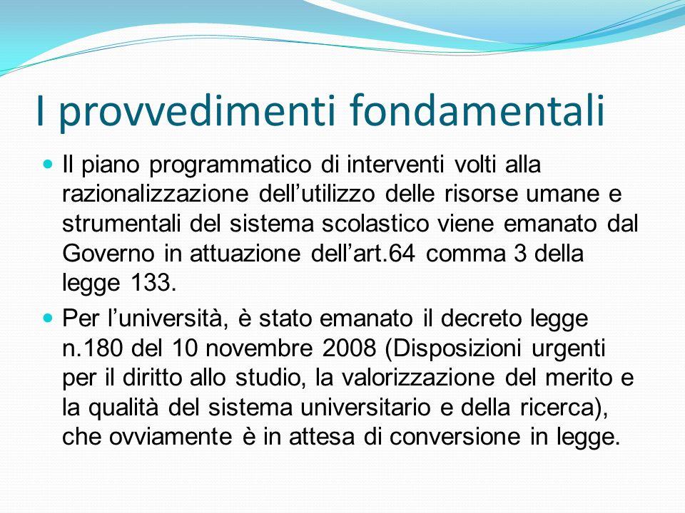 I provvedimenti fondamentali Il piano programmatico di interventi volti alla razionalizzazione dellutilizzo delle risorse umane e strumentali del sistema scolastico viene emanato dal Governo in attuazione dellart.64 comma 3 della legge 133.