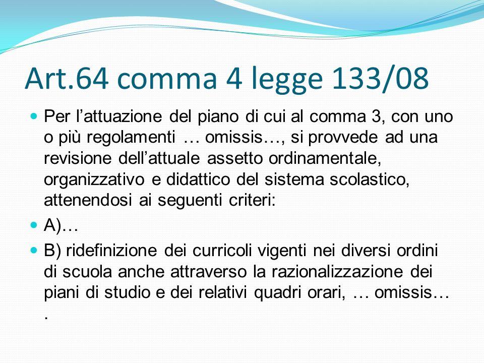 Art.64 comma 4 legge 133/08 Per lattuazione del piano di cui al comma 3, con uno o più regolamenti … omissis…, si provvede ad una revisione dellattuale assetto ordinamentale, organizzativo e didattico del sistema scolastico, attenendosi ai seguenti criteri: A)… B) ridefinizione dei curricoli vigenti nei diversi ordini di scuola anche attraverso la razionalizzazione dei piani di studio e dei relativi quadri orari, … omissis….