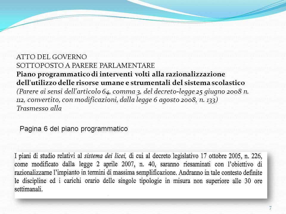 ATTO DEL GOVERNO SOTTOPOSTO A PARERE PARLAMENTARE Piano programmatico di interventi volti alla razionalizzazione dell utilizzo delle risorse umane e strumentali del sistema scolastico (Parere ai sensi dell articolo 64, comma 3, del decreto-legge 25 giugno 2008 n.