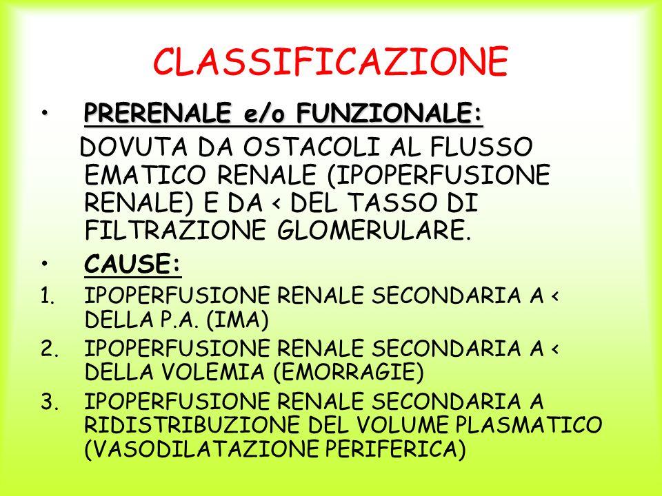 CLASSIFICAZIONE PRERENALE e/o FUNZIONALE:PRERENALE e/o FUNZIONALE: DOVUTA DA OSTACOLI AL FLUSSO EMATICO RENALE (IPOPERFUSIONE RENALE) E DA < DEL TASSO