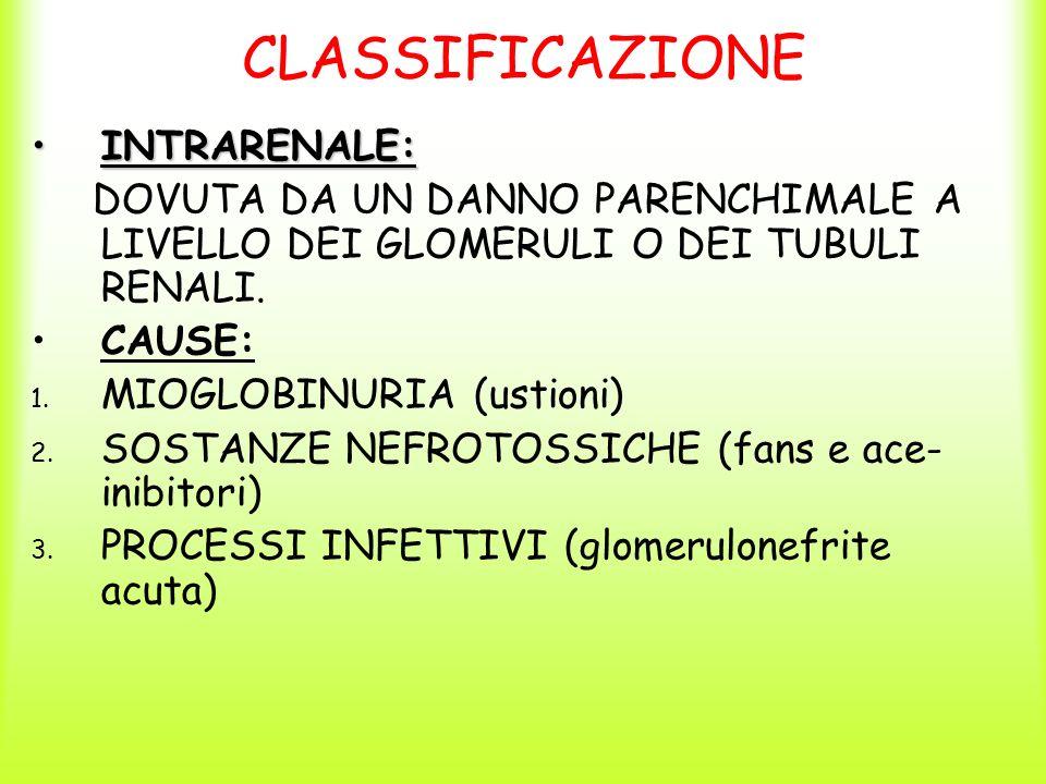 CLASSIFICAZIONE INTRARENALE:INTRARENALE: DOVUTA DA UN DANNO PARENCHIMALE A LIVELLO DEI GLOMERULI O DEI TUBULI RENALI. CAUSE: 1. MIOGLOBINURIA (ustioni