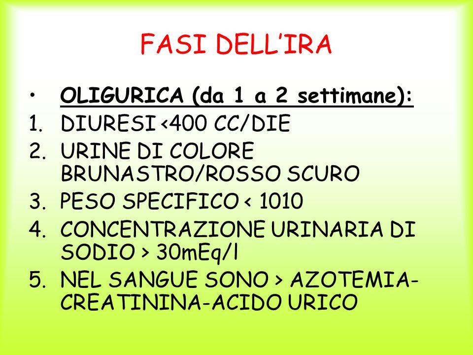 FASI DELLIRA OLIGURICA (da 1 a 2 settimane): 1.DIURESI <400 CC/DIE 2.URINE DI COLORE BRUNASTRO/ROSSO SCURO 3.PESO SPECIFICO < 1010 4.CONCENTRAZIONE UR