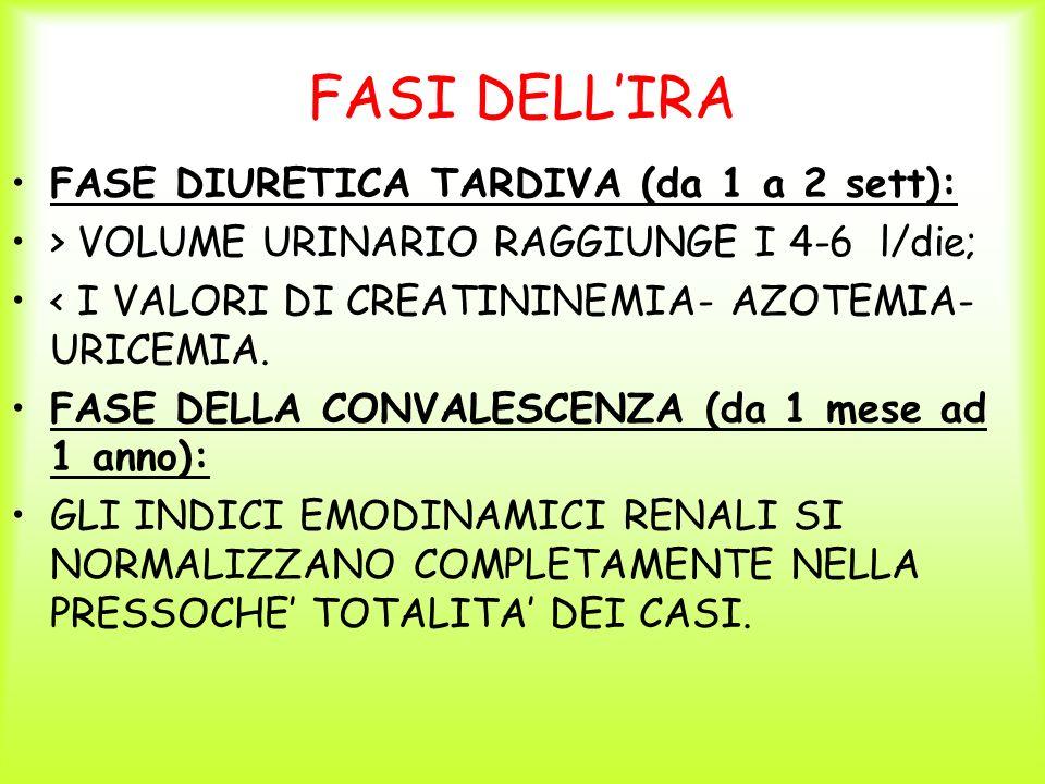 FASI DELLIRA FASE DIURETICA TARDIVA (da 1 a 2 sett): > VOLUME URINARIO RAGGIUNGE I 4-6 l/die; < I VALORI DI CREATININEMIA- AZOTEMIA- URICEMIA. FASE DE