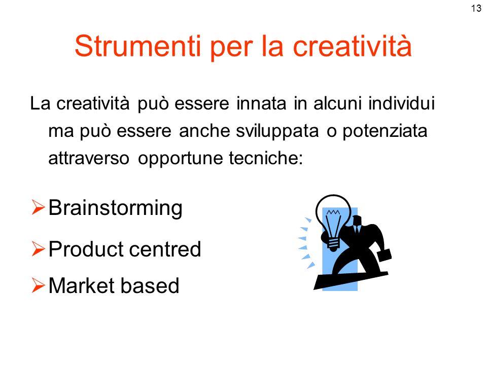 13 Strumenti per la creatività La creatività può essere innata in alcuni individui ma può essere anche sviluppata o potenziata attraverso opportune te