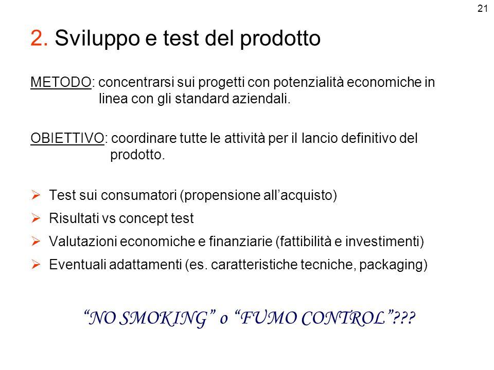 21 2. Sviluppo e test del prodotto METODO: concentrarsi sui progetti con potenzialità economiche in linea con gli standard aziendali. OBIETTIVO: coord