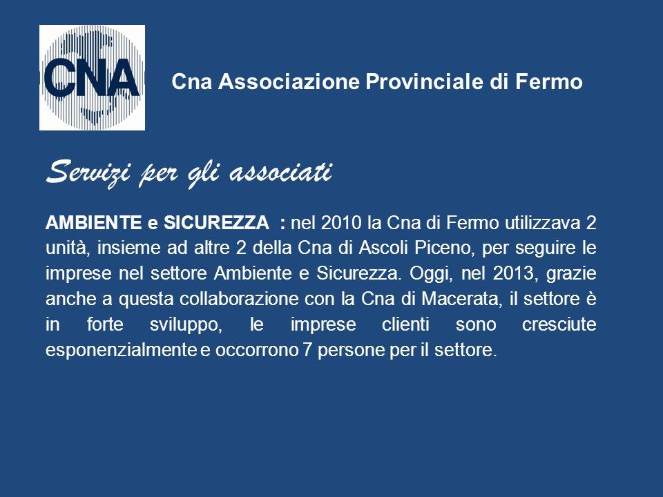 AMBIENTE e SICUREZZA : nel 2010 la Cna di Fermo utilizzava 2 unità, insieme ad altre 2 della Cna di Ascoli Piceno, per seguire le imprese nel settore