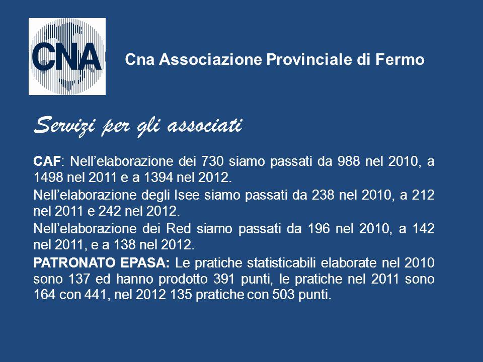 CAF: Nellelaborazione dei 730 siamo passati da 988 nel 2010, a 1498 nel 2011 e a 1394 nel 2012. Nellelaborazione degli Isee siamo passati da 238 nel 2