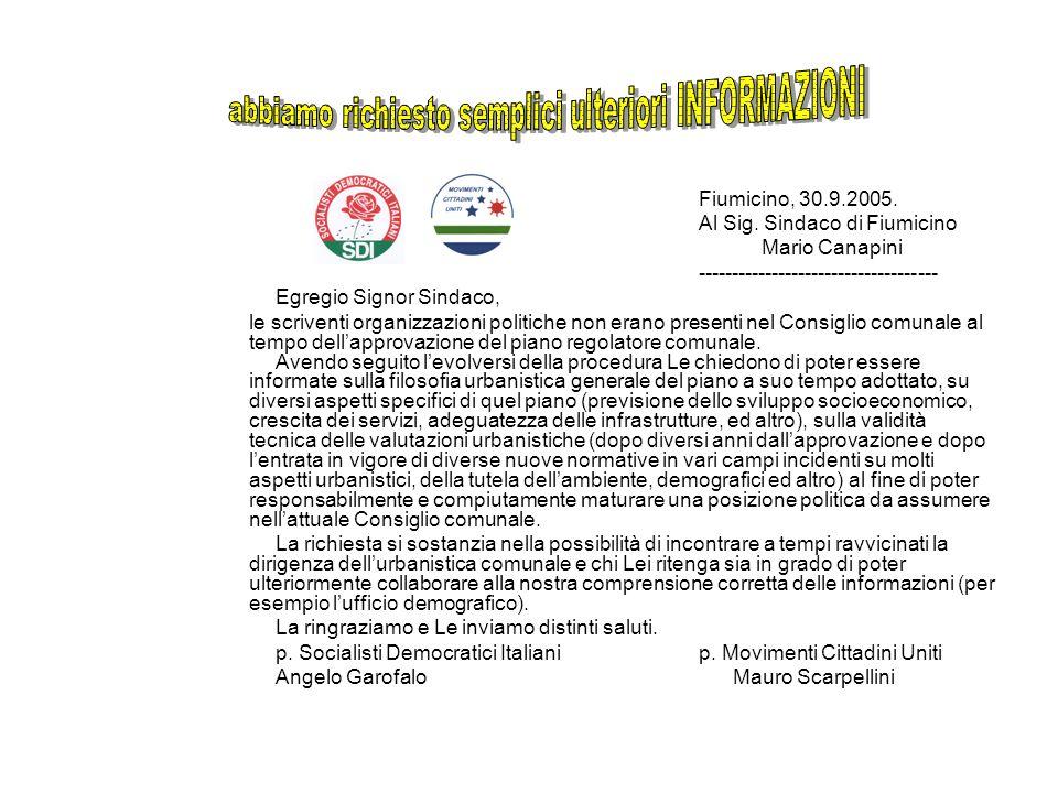 . Fiumicino, 30.9.2005. Al Sig. Sindaco di Fiumicino Mario Canapini ------------------------------------ Egregio Signor Sindaco, le scriventi organizz