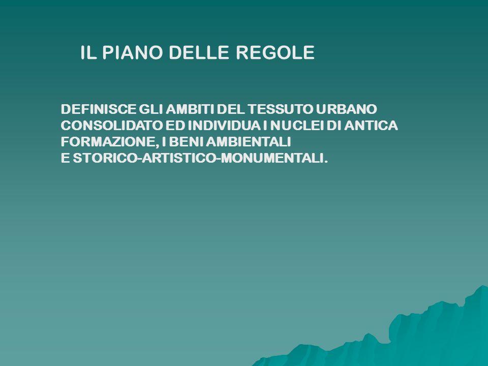 IL PIANO DELLE REGOLE DEFINISCE GLI AMBITI DEL TESSUTO URBANO CONSOLIDATO ED INDIVIDUA I NUCLEI DI ANTICA FORMAZIONE, I BENI AMBIENTALI E STORICO-ARTI