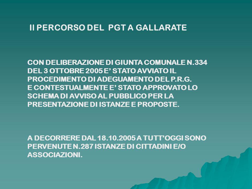 CON DELIBERAZIONE DI GIUNTA COMUNALE N.334 DEL 3 OTTOBRE 2005 E STATO AVVIATO IL PROCEDIMENTO DI ADEGUAMENTO DEL P.R.G. E CONTESTUALMENTE E STATO APPR