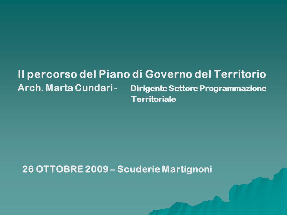 Il percorso del Piano di Governo del Territorio Arch. Marta Cundari - Dirigente Settore Programmazione Territoriale 26 OTTOBRE 2009 – Scuderie Martign