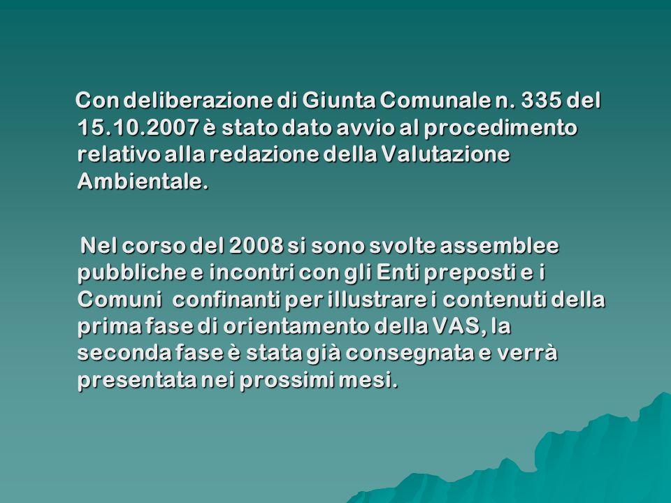 Con deliberazione di Giunta Comunale n. 335 del 15.10.2007 è stato dato avvio al procedimento relativo alla redazione della Valutazione Ambientale. Co