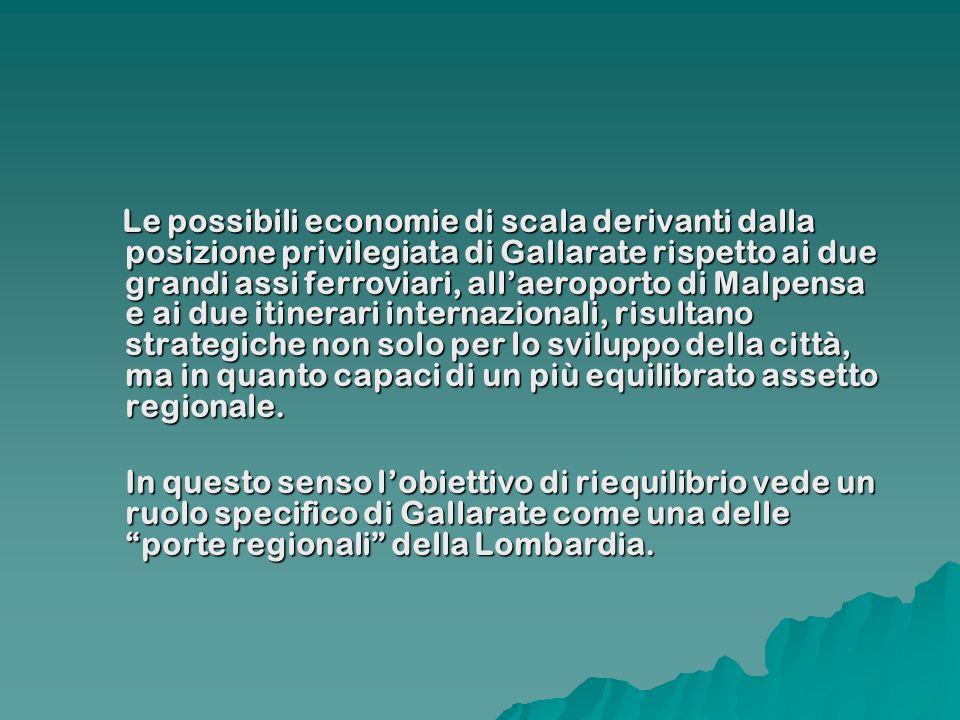 Le possibili economie di scala derivanti dalla posizione privilegiata di Gallarate rispetto ai due grandi assi ferroviari, allaeroporto di Malpensa e