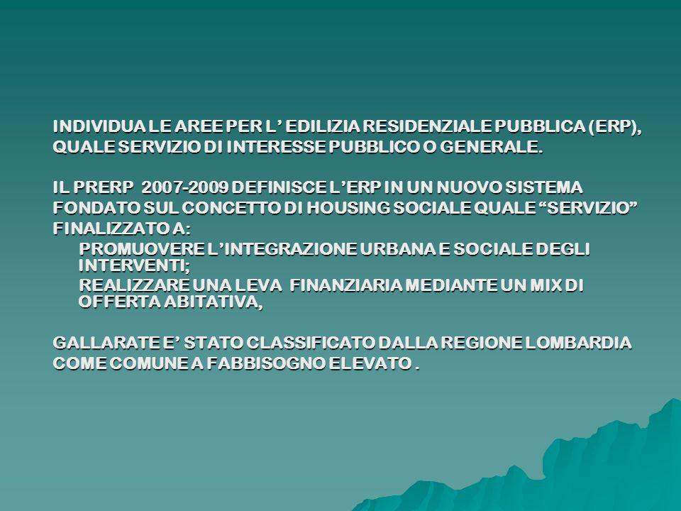 INDIVIDUA LE AREE PER L EDILIZIA RESIDENZIALE PUBBLICA (ERP), QUALE SERVIZIO DI INTERESSE PUBBLICO O GENERALE. IL PRERP 2007-2009 DEFINISCE LERP IN UN