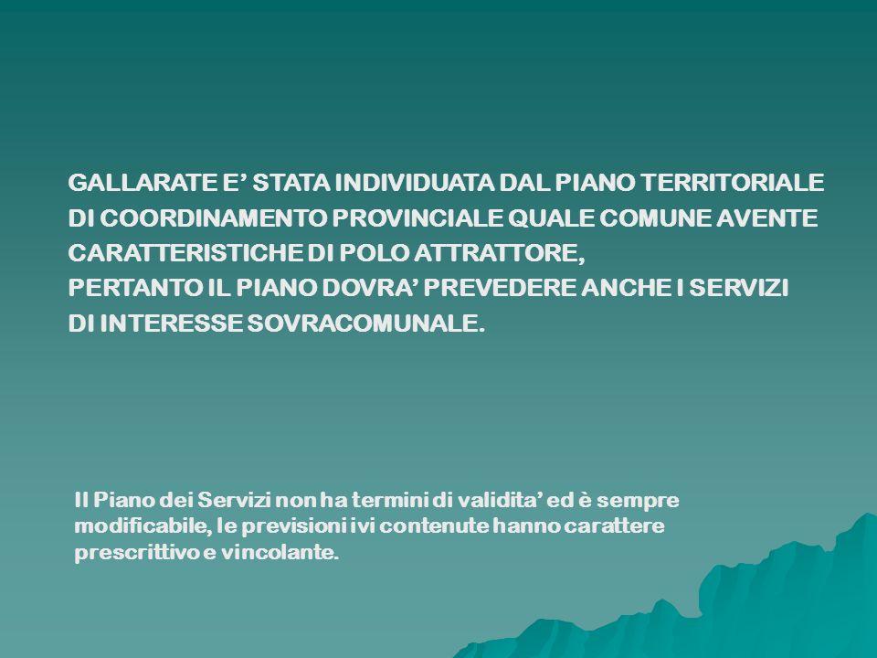 GALLARATE E STATA INDIVIDUATA DAL PIANO TERRITORIALE DI COORDINAMENTO PROVINCIALE QUALE COMUNE AVENTE CARATTERISTICHE DI POLO ATTRATTORE, PERTANTO IL