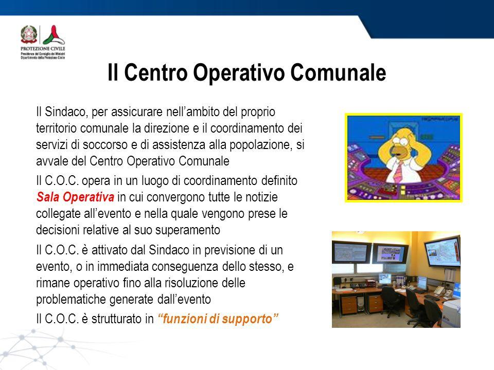Il Centro Operativo Comunale Il Sindaco, per assicurare nellambito del proprio territorio comunale la direzione e il coordinamento dei servizi di socc