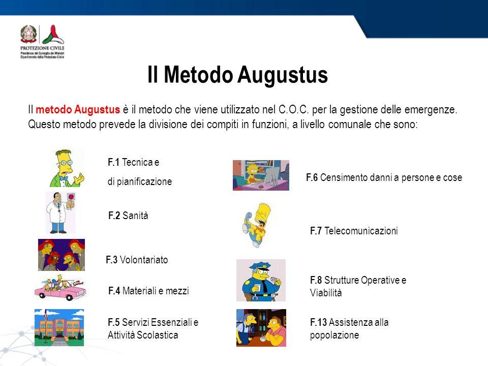 Il Metodo Augustus Il metodo Augustus è il metodo che viene utilizzato nel C.O.C. per la gestione delle emergenze. Questo metodo prevede la divisione