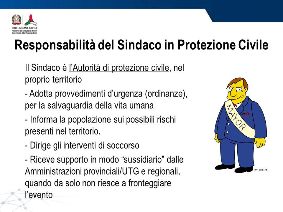 Responsabilità del Sindaco in Protezione Civile Il Sindaco è lAutorità di protezione civile, nel proprio territorio - Adotta provvedimenti durgenza (o