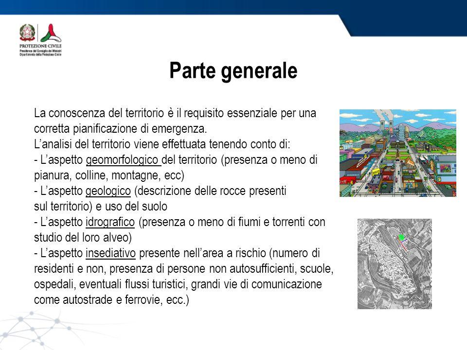 Parte generale La conoscenza del territorio è il requisito essenziale per una corretta pianificazione di emergenza. Lanalisi del territorio viene effe