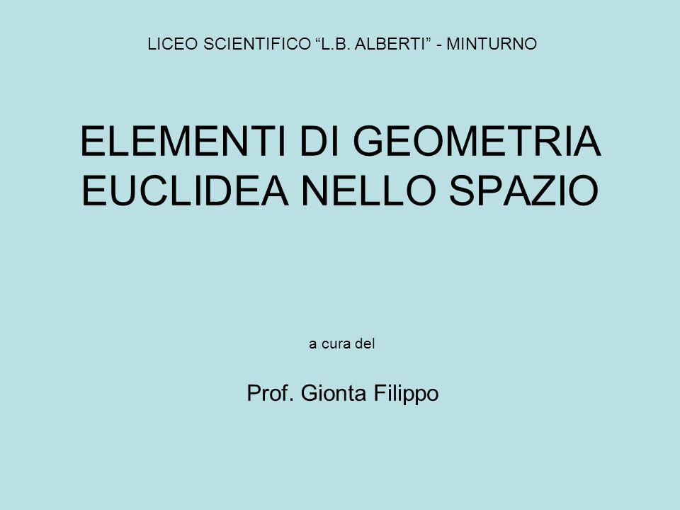 LO SPAZIO EUCLIDEO Lo spazio euclideo è un insieme infinito di elementi detti punti e contiene sottoinsiemi propri ed infiniti detti piani.