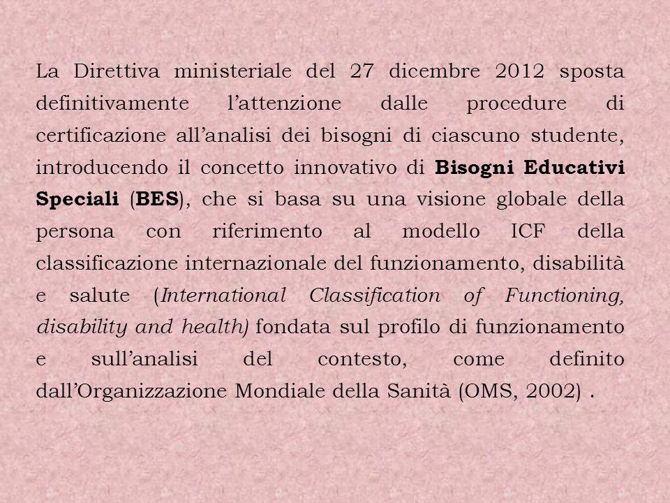 La Direttiva ministeriale del 27 dicembre 2012 sposta definitivamente lattenzione dalle procedure di certificazione allanalisi dei bisogni di ciascuno