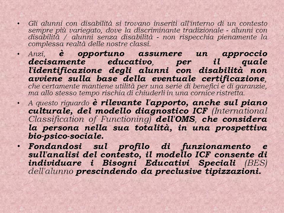 Gli alunni con disabilità si trovano inseriti all'interno di un contesto sempre più variegato, dove la discriminante tradizionale - alunni con disabil