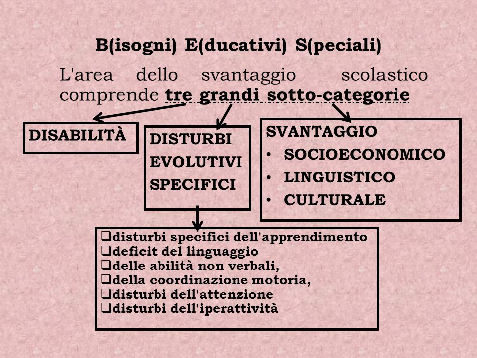 DISABILITÀ DISTURBI EVOLUTIVI SPECIFICI L'area dello svantaggio scolastico comprende tre grandi sotto-categorie disturbi specifici dell'apprendimento