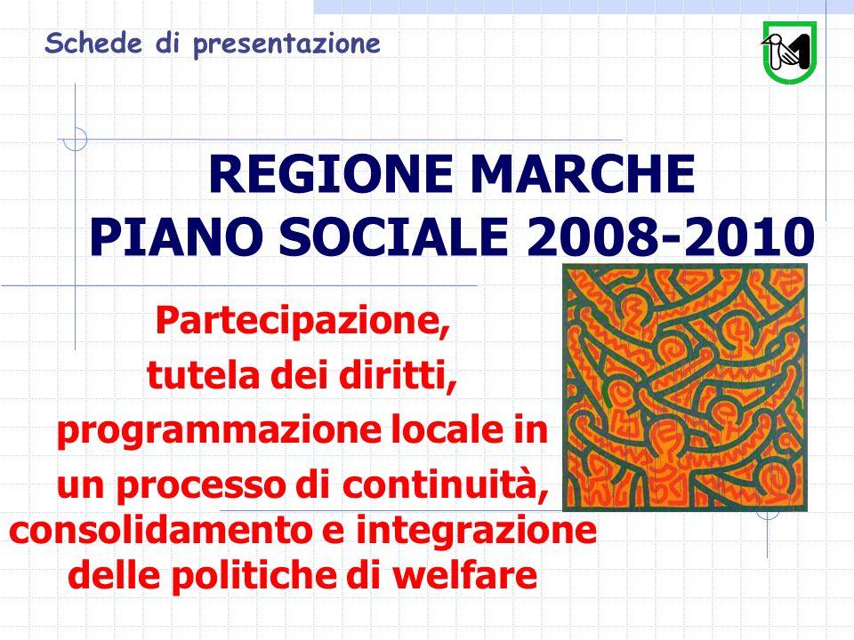 REGIONE MARCHE PIANO SOCIALE 2008-2010 Partecipazione, tutela dei diritti, programmazione locale in un processo di continuità, consolidamento e integrazione delle politiche di welfare Schede di presentazione