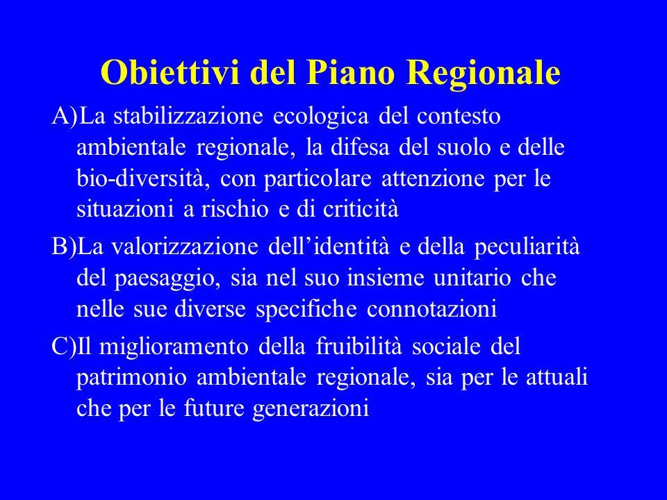 Obiettivi del Piano Regionale A)La stabilizzazione ecologica del contesto ambientale regionale, la difesa del suolo e delle bio-diversità, con partico