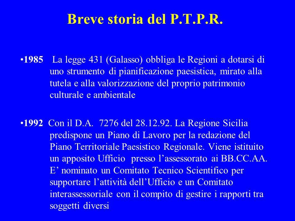 1996 LUfficio del Piano perviene alla definizione delle Linee Guida del PTPR su parere favorevole del Comitato Tecnico-Scientifico 1999 Dopo la pubblicazione agli Albi Pretori dei Comuni Siciliani e la valutazione delle opposizioni, le Linee Guida vengono approvate con D.A.