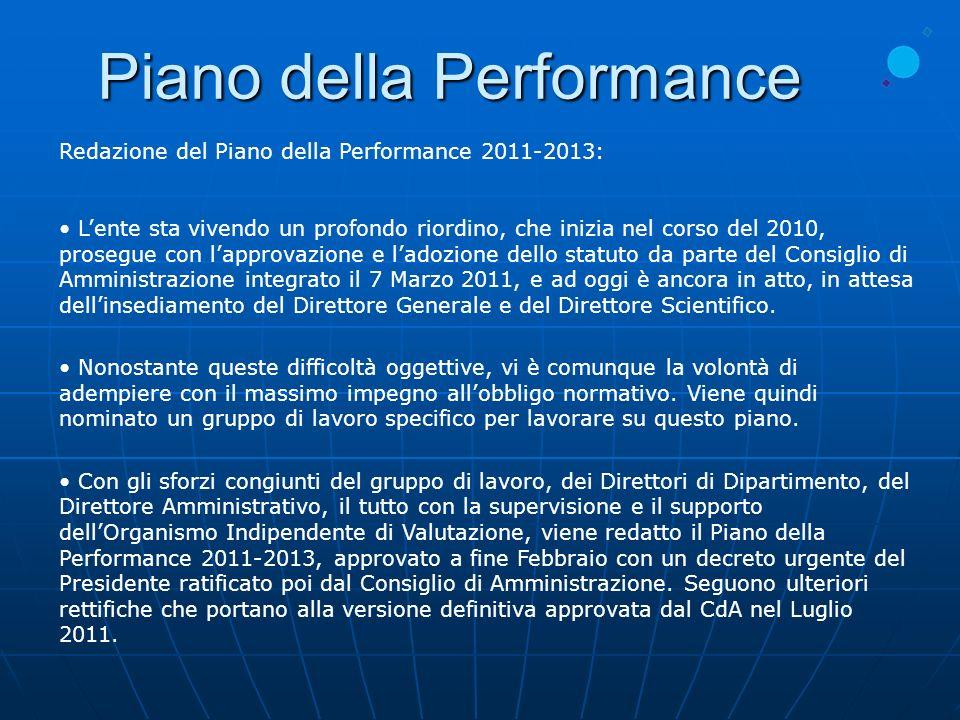 Redazione del Piano della Performance 2011-2013: Lente sta vivendo un profondo riordino, che inizia nel corso del 2010, prosegue con lapprovazione e l