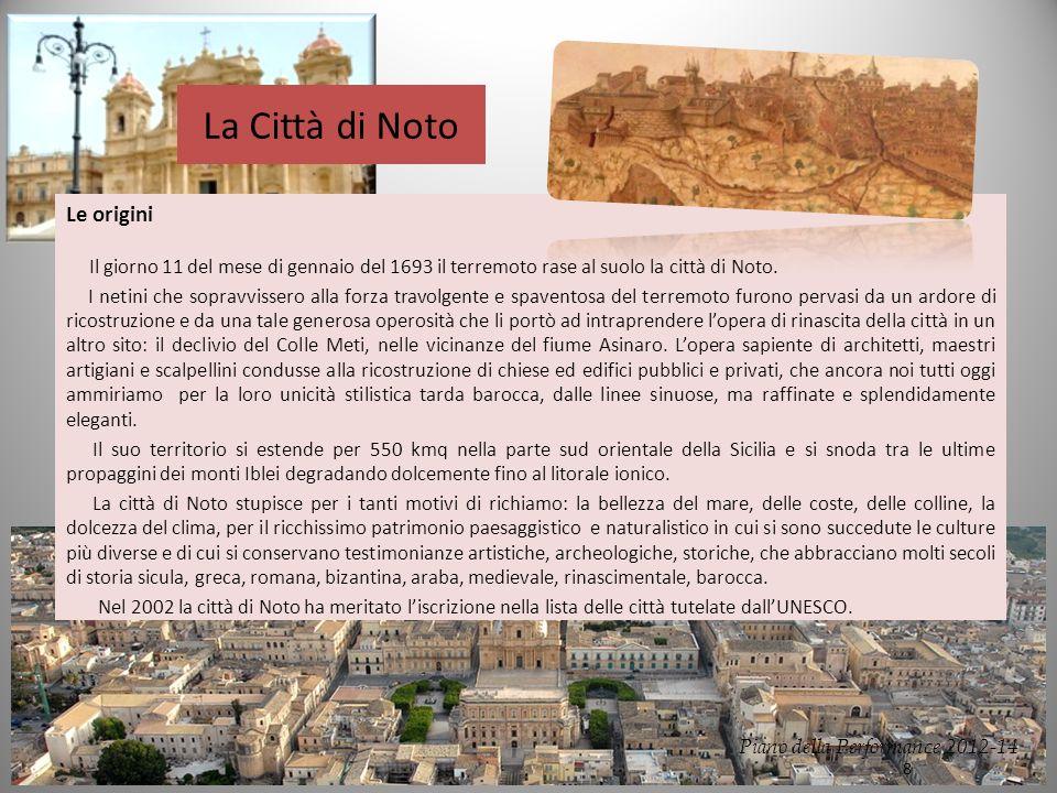 La Città di Noto Le origini Il giorno 11 del mese di gennaio del 1693 il terremoto rase al suolo la città di Noto.