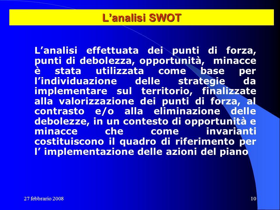 27 febbrario 200810 Lanalisi SWOT Lanalisi effettuata dei punti di forza, punti di debolezza, opportunità, minacce è stata utilizzata come base per li