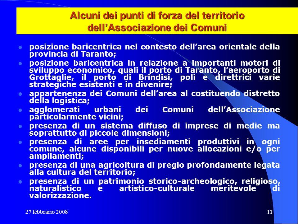 27 febbrario 200811 Alcuni dei punti di forza del territorio dellAssociazione dei Comuni posizione baricentrica nel contesto dellarea orientale della