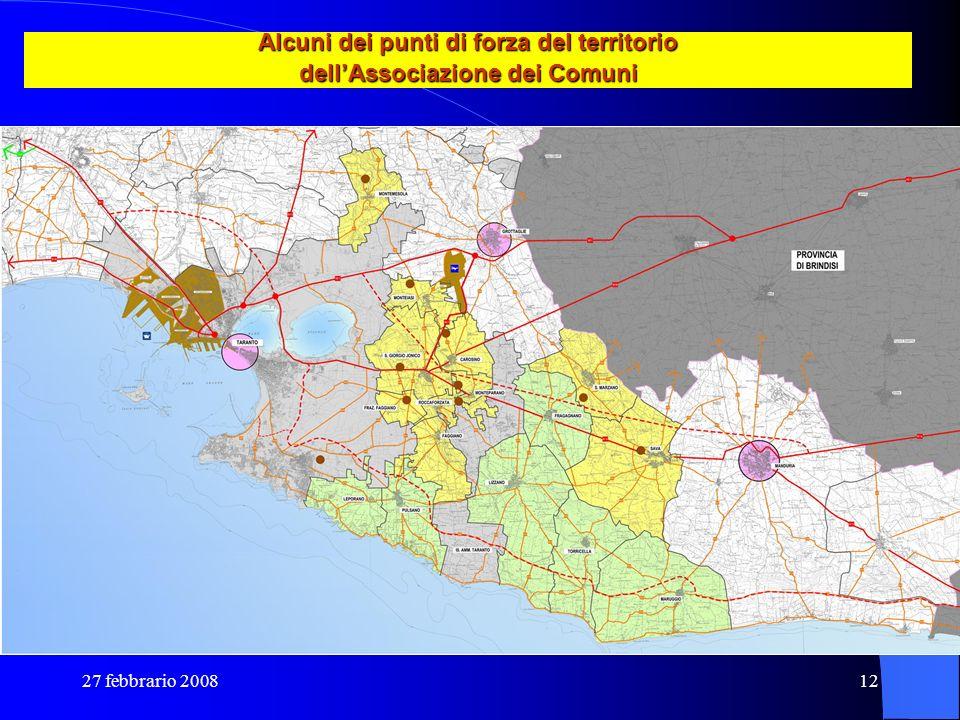 27 febbrario 200812 Alcuni dei punti di forza del territorio dellAssociazione dei Comuni
