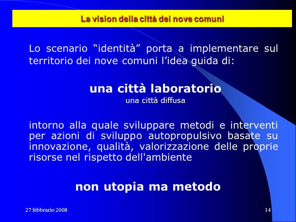 27 febbrario 200814 La vision della città dei nove comuni Lo scenario identità porta a implementare sul territorio dei nove comuni lidea guida di: una