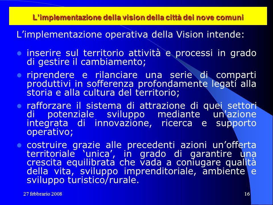 27 febbrario 200816 Limplementazione della vision della città dei nove comuni Limplementazione operativa della Vision intende: inserire sul territorio