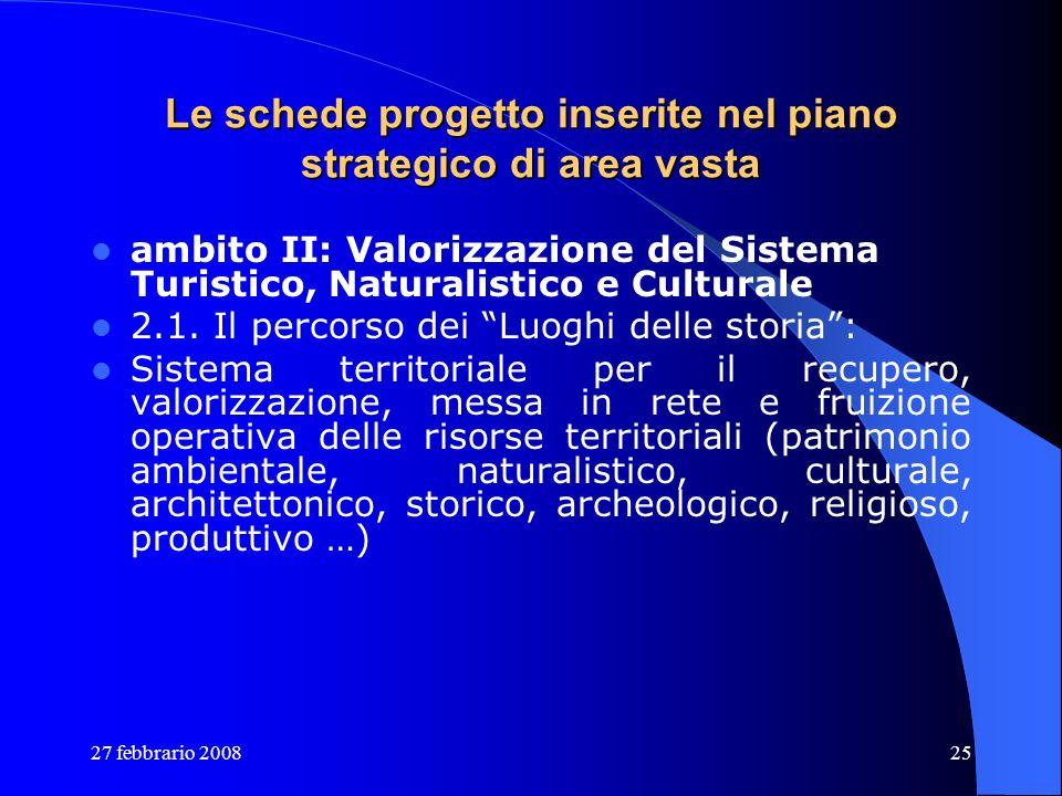 27 febbrario 200825 Le schede progetto inserite nel piano strategico di area vasta ambito II: Valorizzazione del Sistema Turistico, Naturalistico e Cu
