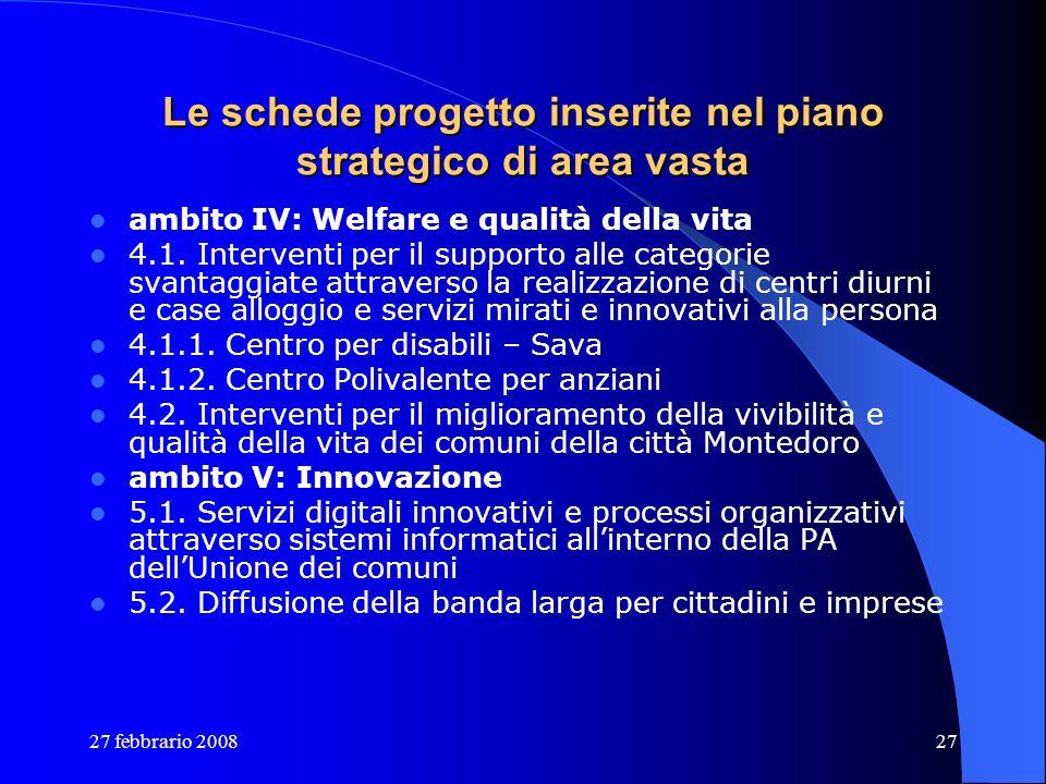 27 febbrario 200827 Le schede progetto inserite nel piano strategico di area vasta ambito IV: Welfare e qualità della vita 4.1. Interventi per il supp