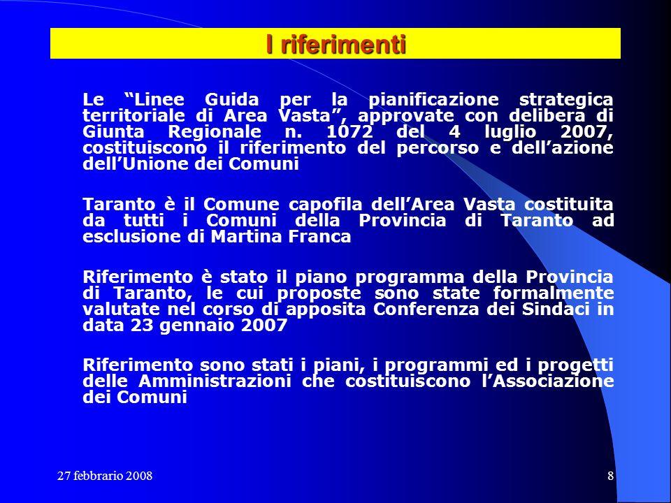 27 febbrario 20088 I riferimenti 4 luglio 2007, Le Linee Guida per la pianificazione strategica territoriale di Area Vasta, approvate con delibera di