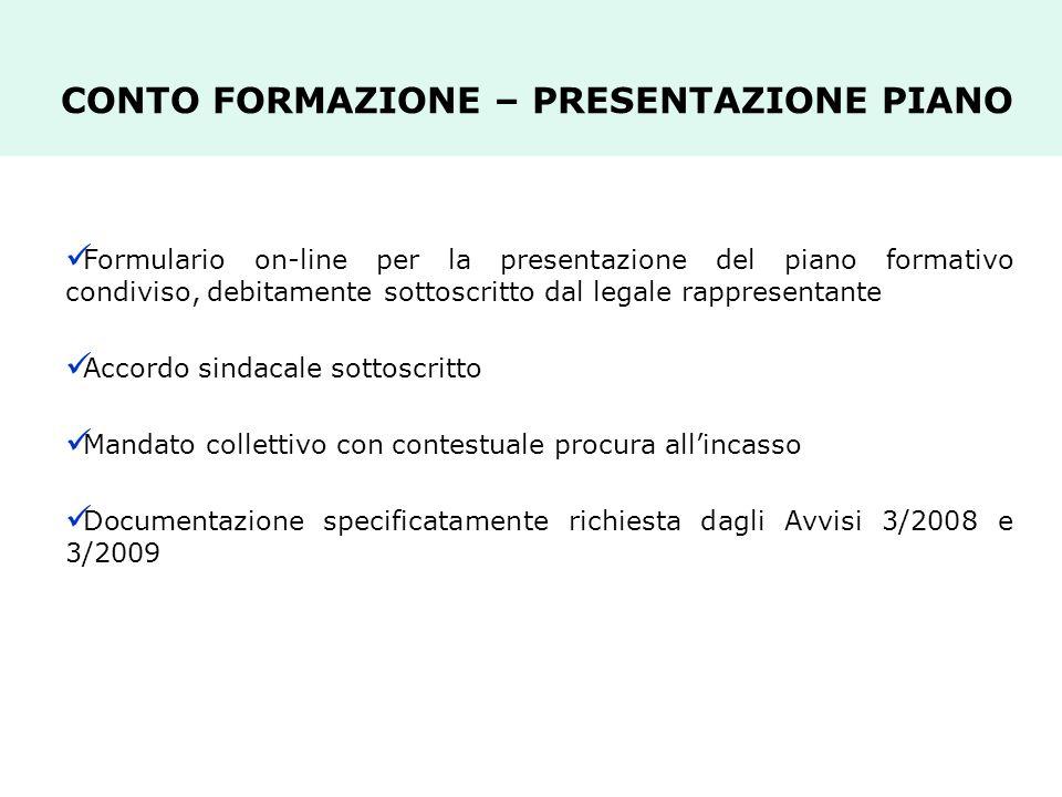 CONTO FORMAZIONE – PRESENTAZIONE PIANO Formulario on-line per la presentazione del piano formativo condiviso, debitamente sottoscritto dal legale rapp