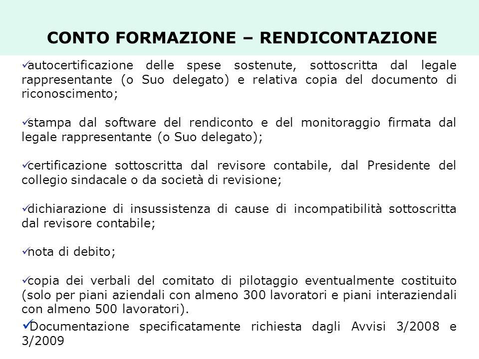 CONTO FORMAZIONE – RENDICONTAZIONE autocertificazione delle spese sostenute, sottoscritta dal legale rappresentante (o Suo delegato) e relativa copia