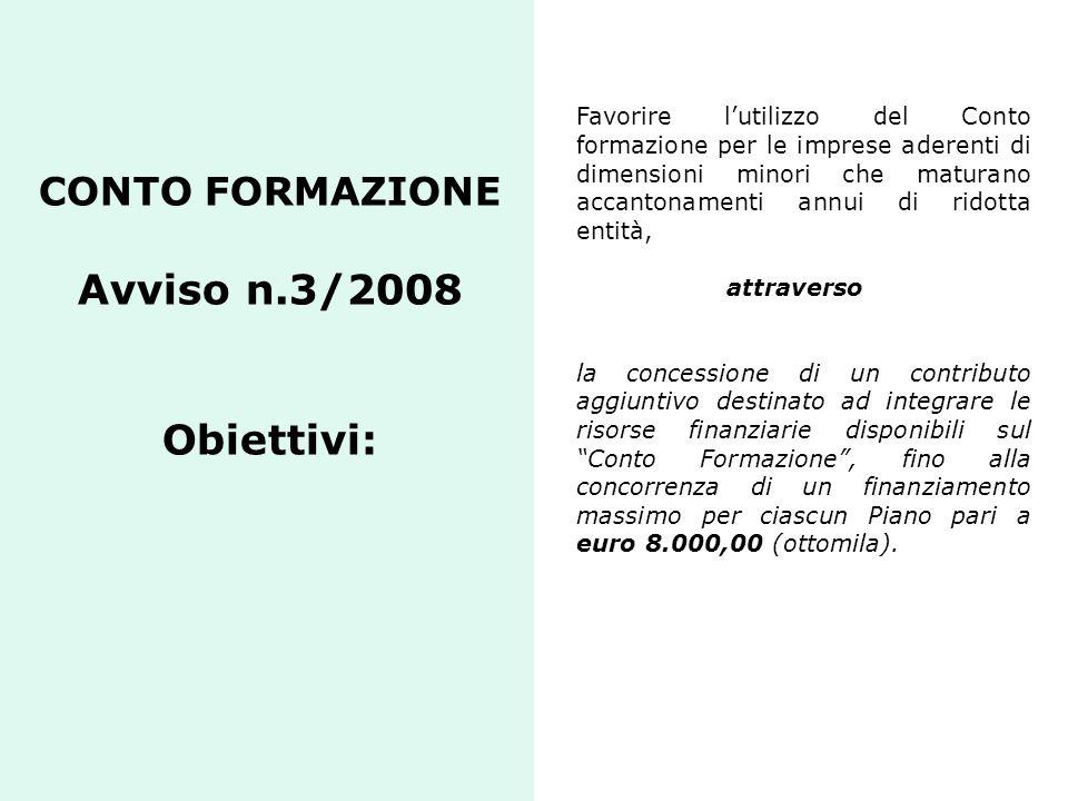 CONTO FORMAZIONE Avviso n.3/2008 Obiettivi: Favorire lutilizzo del Conto formazione per le imprese aderenti di dimensioni minori che maturano accanton