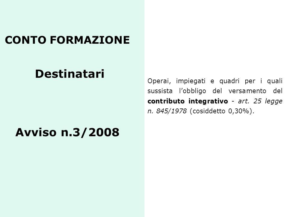 CONTO FORMAZIONE Destinatari Avviso n.3/2008 contributo integrativo Operai, impiegati e quadri per i quali sussista lobbligo del versamento del contri