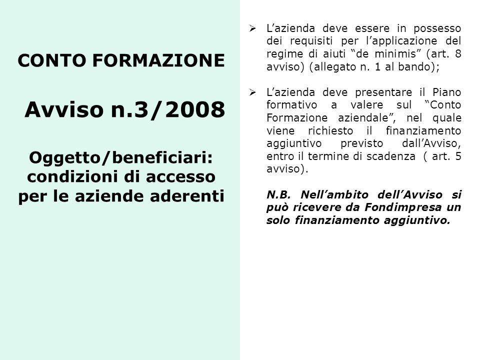 CONTO FORMAZIONE Avviso n.3/2008 Oggetto/beneficiari: condizioni di accesso per le aziende aderenti Lazienda deve essere in possesso dei requisiti per