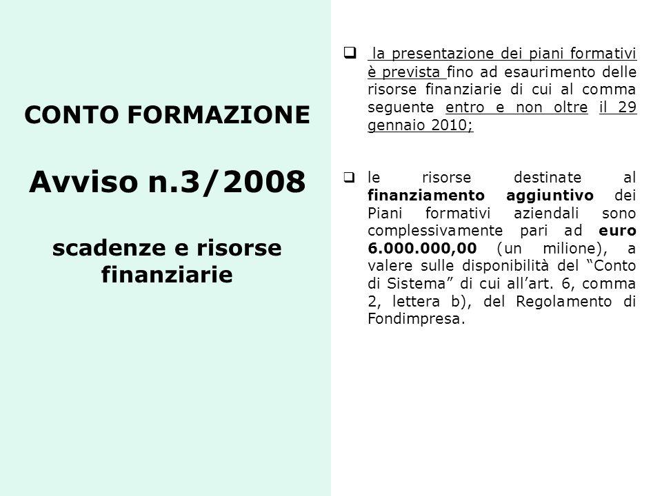 CONTO FORMAZIONE Avviso n.3/2008 scadenze e risorse finanziarie la presentazione dei piani formativi è prevista fino ad esaurimento delle risorse fina