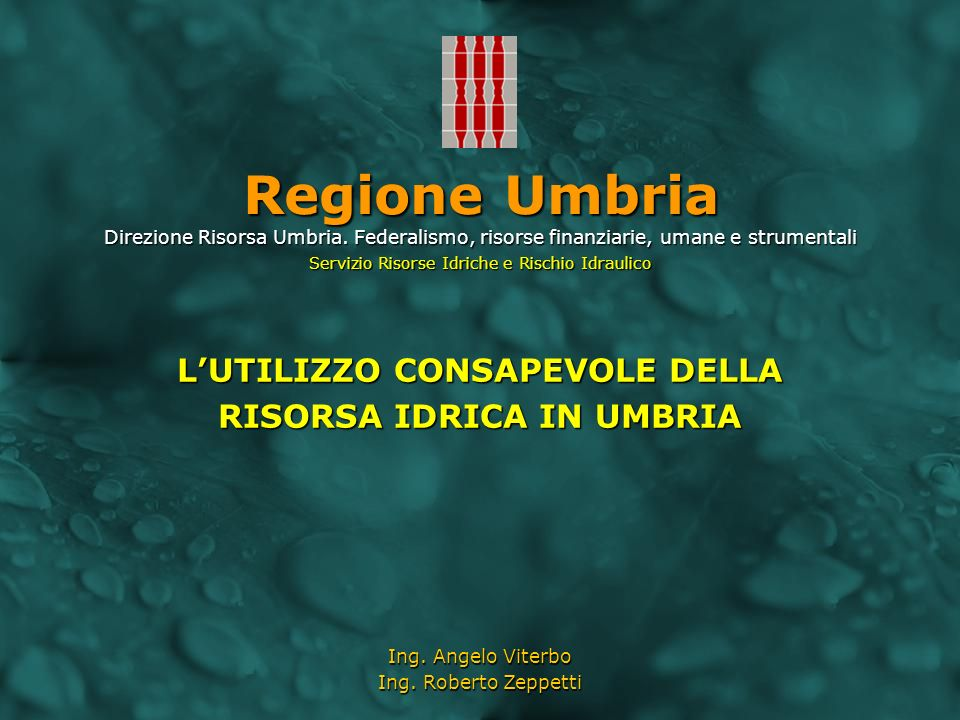 Lutilizzo consapevole della risorsa idrica in Umbria Perugia Green Days – La Risorsa Acqua Regione Umbria Attuazione del Servizio Idrico Integrato Pianificazione della risorsa attraverso il Piano Regolatore Regionale degli Acquedotti (P.R.R.A.) Regolamento per il risparmio idrico La Regione garantisce il razionale utilizzo delle risorse idriche nel quadro delle azioni volte ad assicurare lequilibrio del bilancio idrico, promuovendo ed incentivando: La realizzazione di reti duali; La realizzazione di reti duali; Il recupero e riuso di acque reflue trattate e meteoriche; Il recupero e riuso di acque reflue trattate e meteoriche; Il risanamento delle reti acquedottistiche per il contenimento delle perdite in rete; Il risanamento delle reti acquedottistiche per il contenimento delle perdite in rete; Linstallazione di dispositivi idonei a consentire un consumo più controllato su impianti esistenti; Linstallazione di dispositivi idonei a consentire un consumo più controllato su impianti esistenti; La predisposizione di campagne informative allutenza sullutilizzo responsabile e razionale della risorsa idrica.