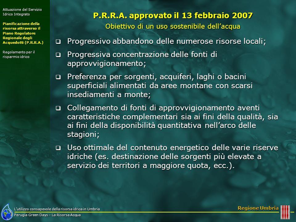 Lutilizzo consapevole della risorsa idrica in Umbria Perugia Green Days – La Risorsa Acqua Regione Umbria Attuazione del Servizio Idrico Integrato Pia